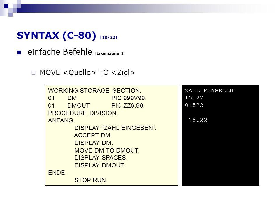 SYNTAX (C-80) [10/20] einfache Befehle [Ergänzung 1]